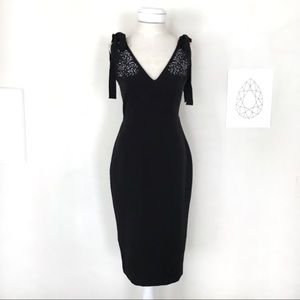Zara Back Embellished V-Neck Dress W Shoulder Ties